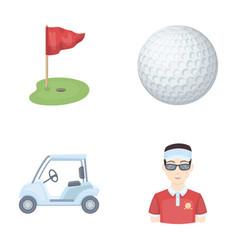 Field with a hole and a flag a golf ball a vector