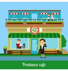 Freelance cafe with working people vector