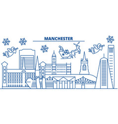 Great britain manchester winter city skyline vector