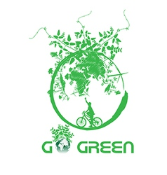 Green earth with bike reduce CO2 vector image