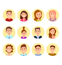 happy cartoon children portraits in circles set vector image