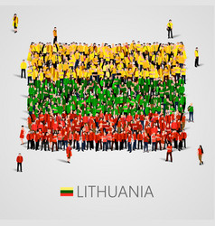 large group of people in the shape of latvian flag vector image