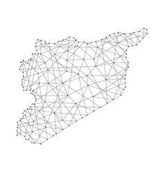 Map of syria from polygonal black lines and dots vector