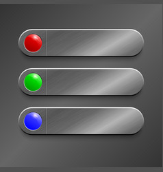 red green blue button on realistic metallic vector image vector image