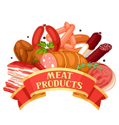 ribbon with meat products of vector image vector image