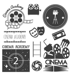 Set of cinema logo labels movie studio vector