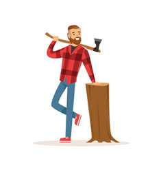 Smiling lumberjack with an axe and downed log vector