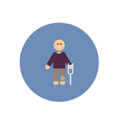stylish icon in color circle man with crutch vector image vector image