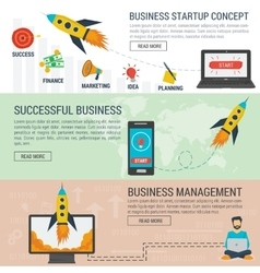 Three banners business start up concept vector image vector image