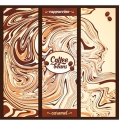 Vertical banners templates set with cappuccino vector image