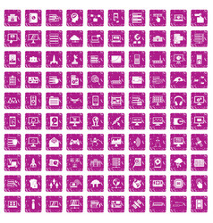 100 database and cloud icons set grunge pink vector image vector image