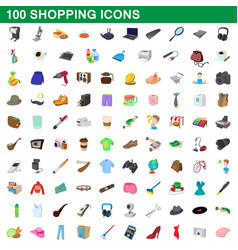 100 shopping set cartoon style vector image