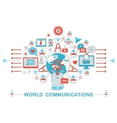 Modern flat thin line design world communications vector