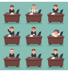 Businessman character work office desktop set vector