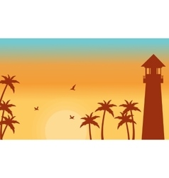 Silhouette of palm and lighthouse vector image