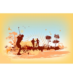 Golf players and equipment vector