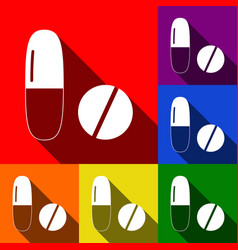 Medical pills sign  set of icons with flat vector