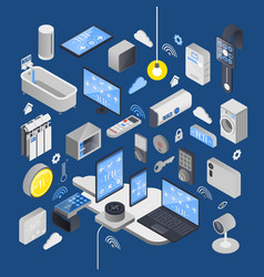 Iot internet of things isometric composition vector