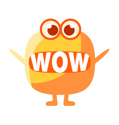 Orange blob saying wow cute emoji character with vector