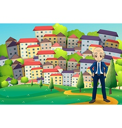 An old businessman standing at the hilltop across vector image