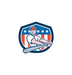 American baseball player batting shield cartoon vector