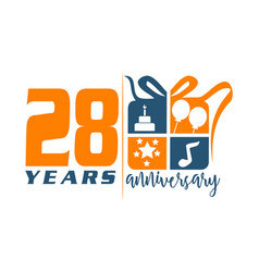 28 year gift box ribbon anniversa vector
