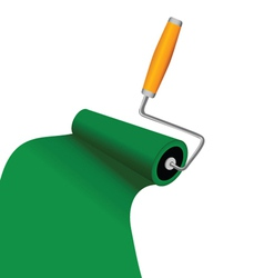 Paint roller with green trace vector