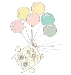 Owl with balloons vector