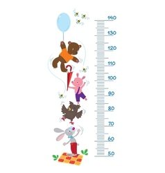 Meter wall with funny animals vector