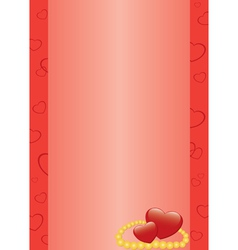 Red card with hearts and beads vector