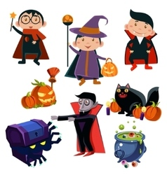 Kids Wearing Halloween Costumes vector image