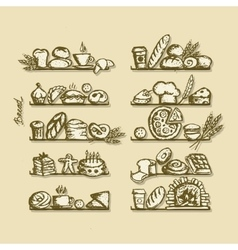 Bakery on shelves sketch for your design vector