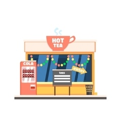 Hot tea shop front in christmas vector