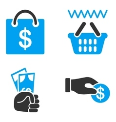 Shopping payment flat bicolor icons vector