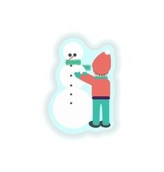 stylish paper sticker on white background Child vector image