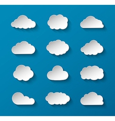 Abstract paper clouds set vector image