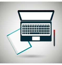 Computer and book isolated icon design vector