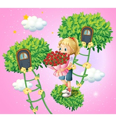 A girl holding a bouquet of flowers vector image vector image