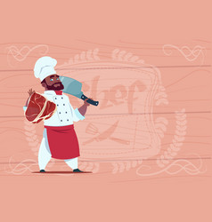 African american chef cook holding cleaver knife vector