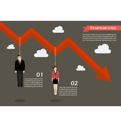 Business people hang on a graph down infographic vector image