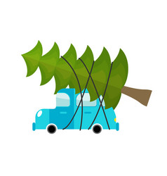 car and fir-tree machine driven by green tree in vector image