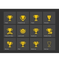 Champions trophy icons vector