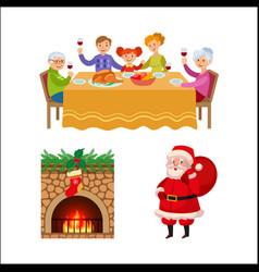 Christmas family dinner chimney and santa claus vector