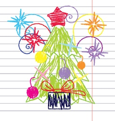 Crayon Christmas tree vector image