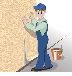 Decorator or handyman glues wallpaper to wall vector