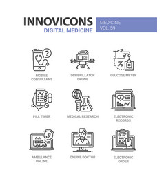 Digital medicine - line design icons set vector