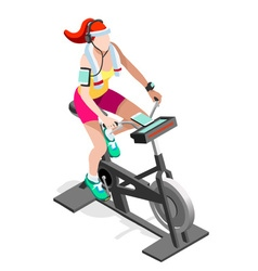 Exercise bike spinning gym class isometric image vector