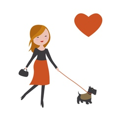 Fashionable girl with cute dog vector image vector image