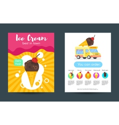 Flat style posters with ice cream vector
