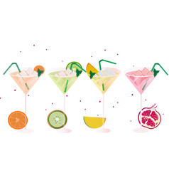 Fruits fresh cocktail glasses set summer drinks vector